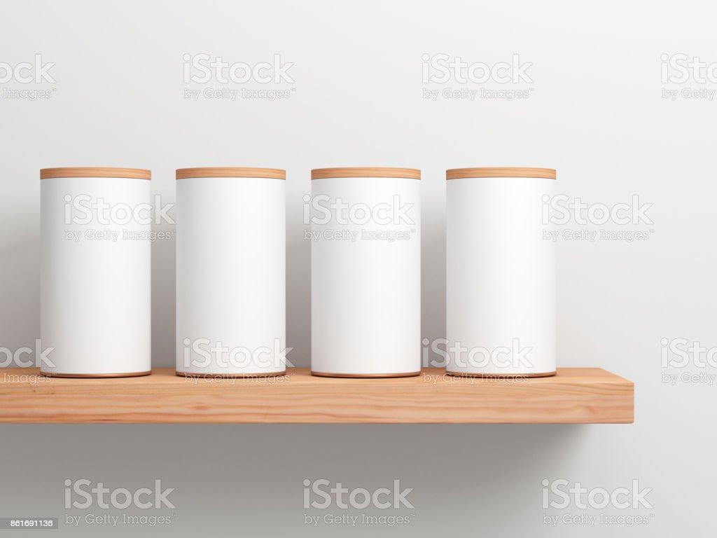 Vier weiße Blechdose Mockup auf Holzregal. Zylindrische Verpackung – Foto