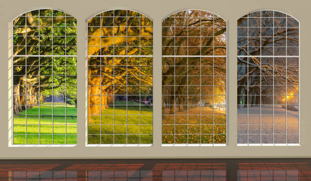 four windows overlooking the park at different times of the year: spring, summer, autumn and winter - four seasons zdjęcia i obrazy z banku zdjęć