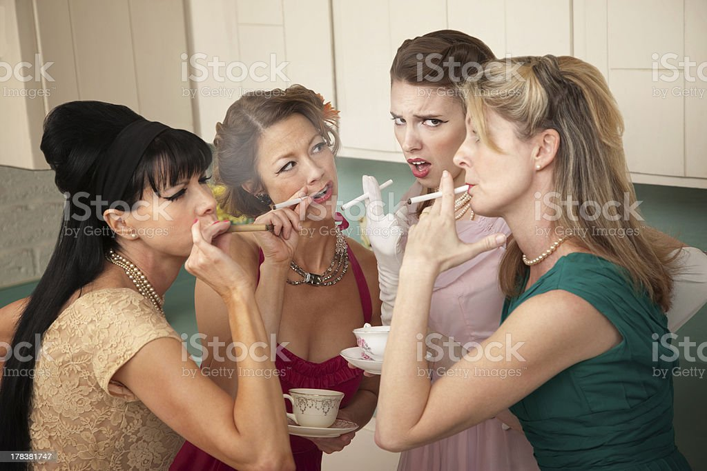 Four Women Smoking stock photo