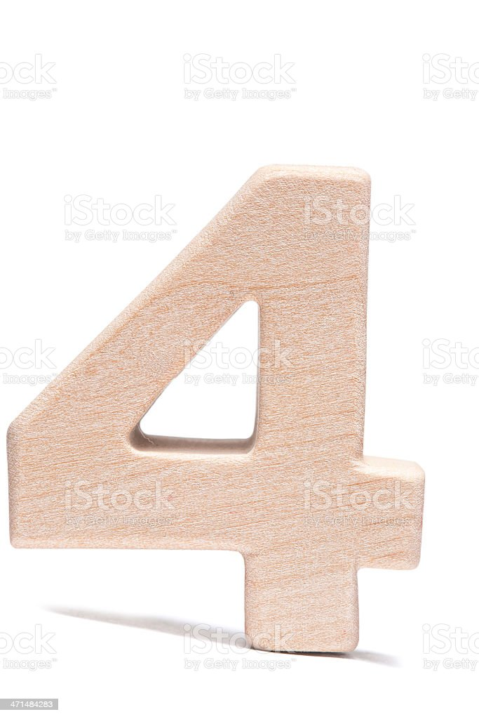 Four, wood number royalty-free stock photo