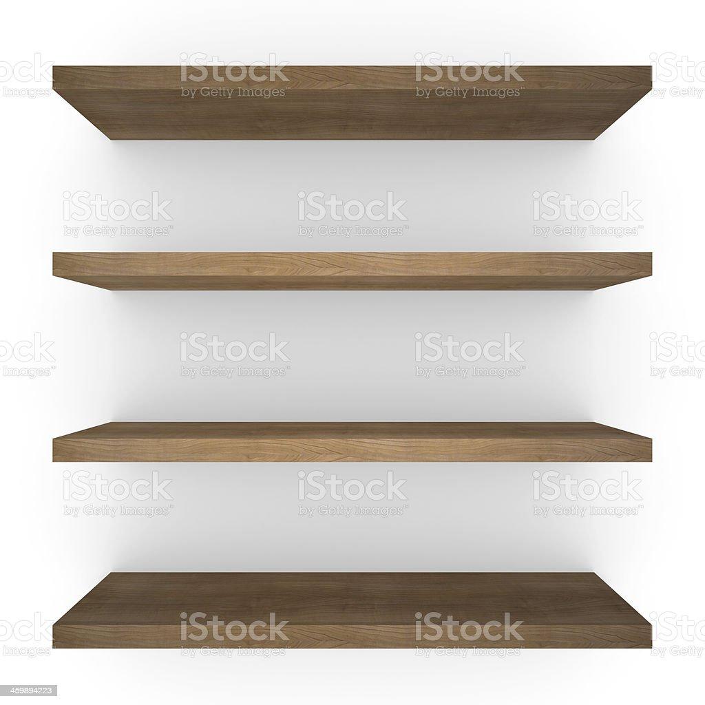Four wood shelfs stock photo