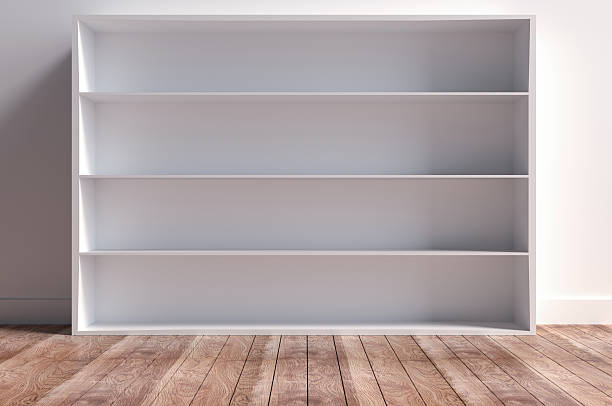 Four Wooden Layered Shelf Four Wooden Layered Shelf magazine rack stock pictures, royalty-free photos & images