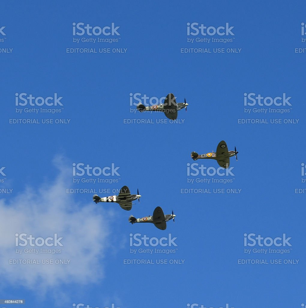 Four WW2 Spitfire aircraft stock photo