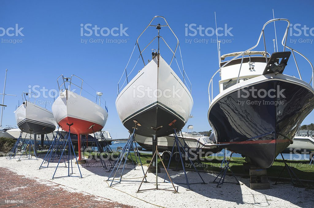 Four Yachts in Drydock stock photo