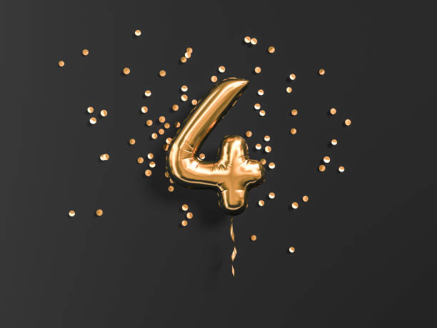 Four year birthday. Four year birthday. Number 4 flying foil balloon and gold confetti on black. Four-year anniversary background. 3d rendering number 4 stock pictures, royalty-free photos & images