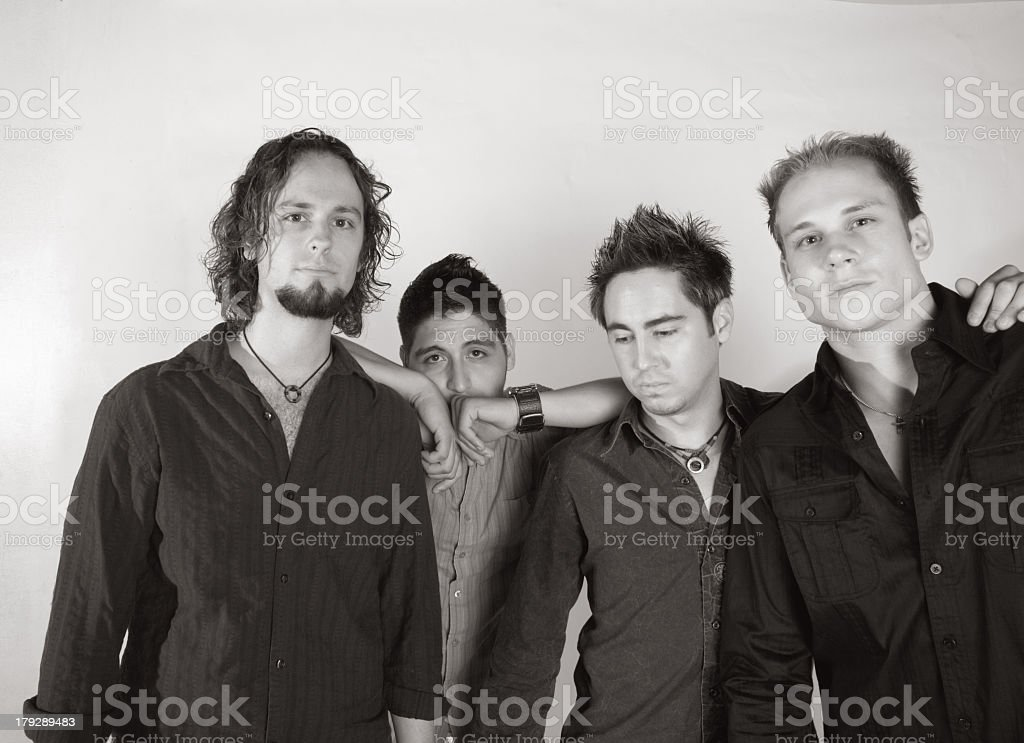 Four Young Guys Who Play in a Band royalty-free stock photo