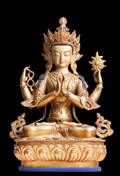 Four-armed form of Avalokiteshvara made of metal. The gilded four-armed form of Avalokiteshvara made of metal. Executed in the Tibetan tradition. bodhisattva stock pictures, royalty-free photos & images