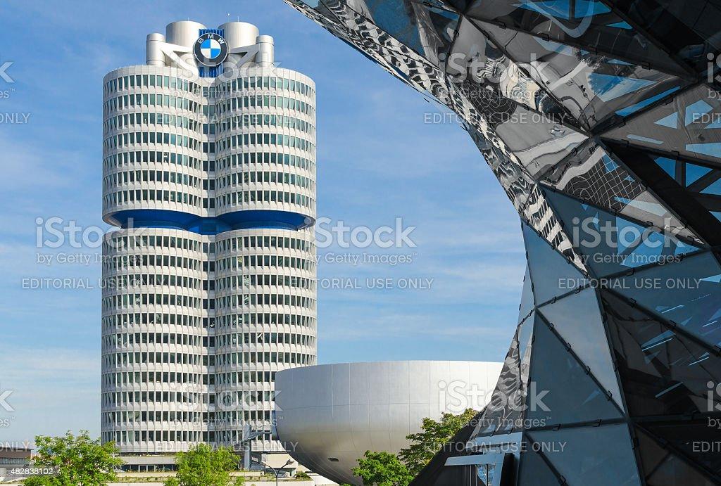 BMW four-cylinder tower Munich world headquarters stock photo
