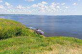 Tetyushi, Republic of Tatarstan / Russia - July 3, 2019: Four-deck cruise ship \