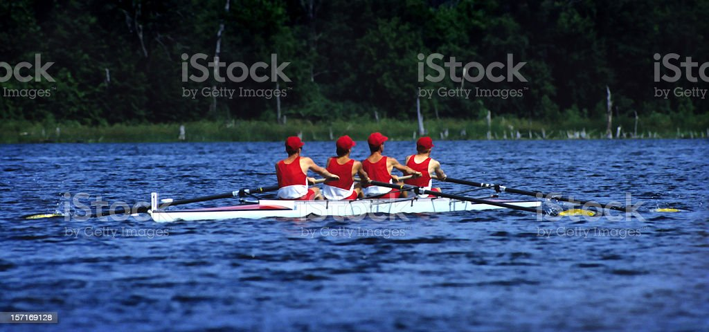 four-man sculls rowing team royalty-free stock photo