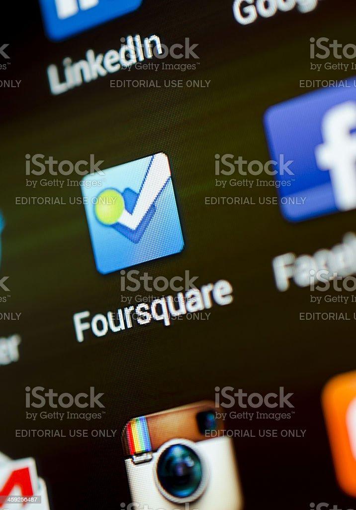 Foursquare app royalty-free stock photo
