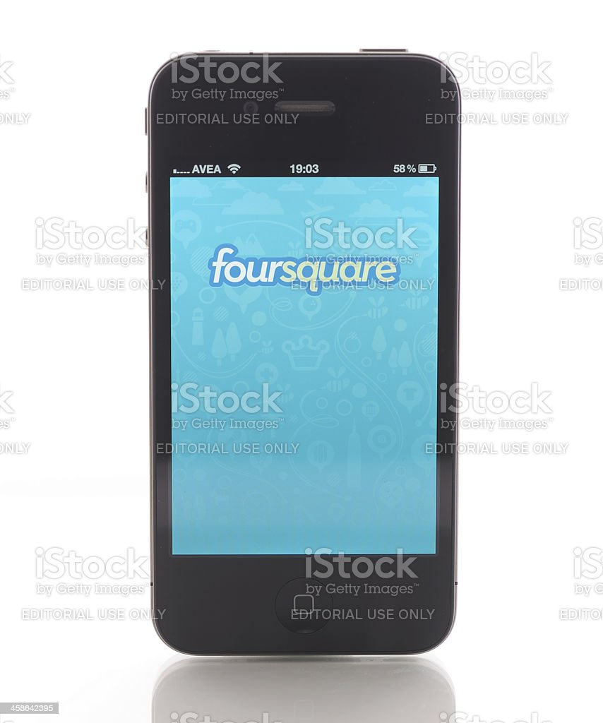 Foursquare on Apple iPhone 4 royalty-free stock photo