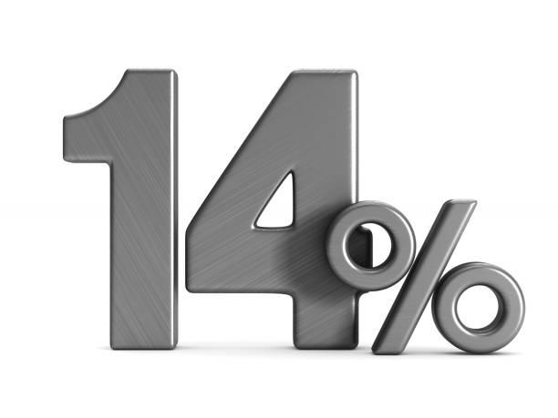 fourteen percent on white background. Isolated 3D illustration stock photo