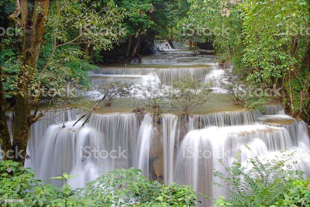 Fourth floor of Huay Mae Kamin Waterfall stock photo