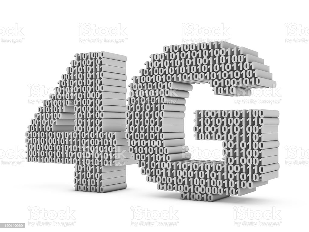 """Fourth Generation The letters """"4G"""" made up of ones and zeros on a white background. Gray Color Stock Photo"""