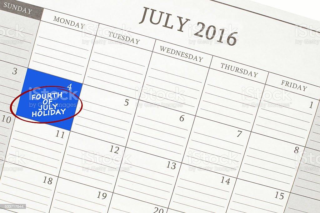 4 de julho de 2016 calendário - foto de acervo