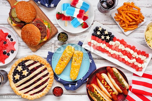 istock Fourth of July, American food. Above view table scene on white wood. 1317295804