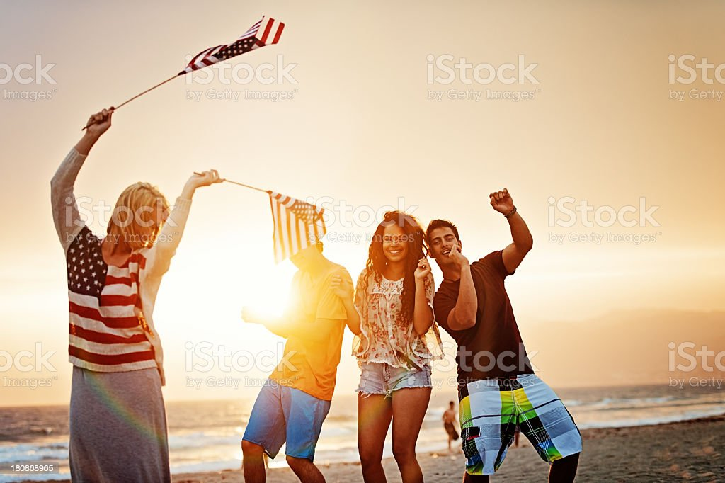 Fourth of July at the beach stock photo