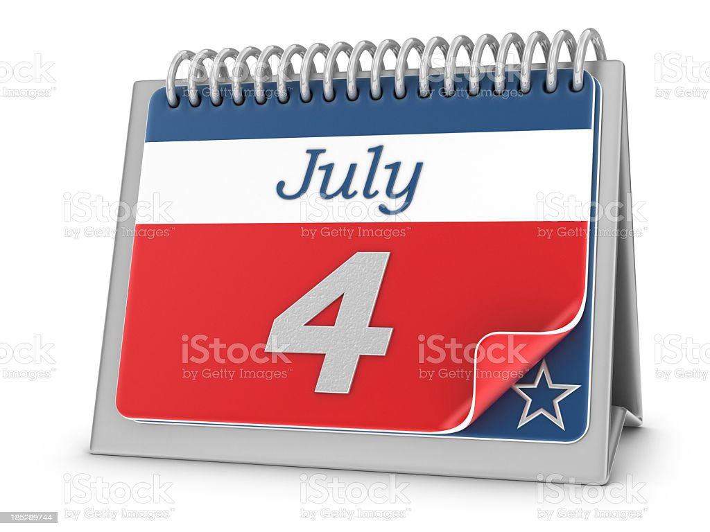 Fourth of July Calendar royalty-free stock photo
