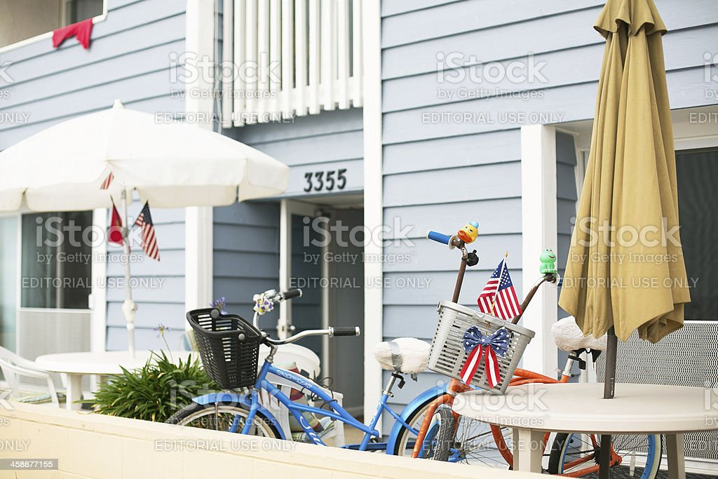Fourth of July Decorations at beach house stock photo