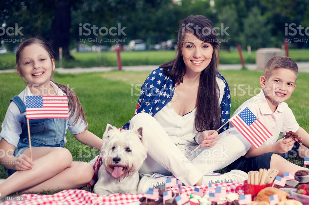 Fourth of July family picnic. stock photo