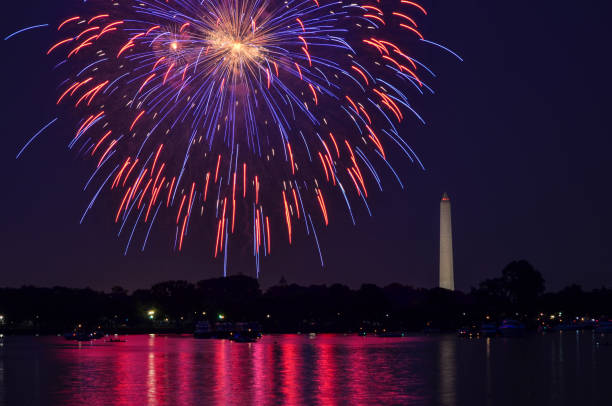 fourth of july fireworks on the national park tidal basin, with the washington monument in washington, district of columbia - happy 4th of july zdjęcia i obrazy z banku zdjęć