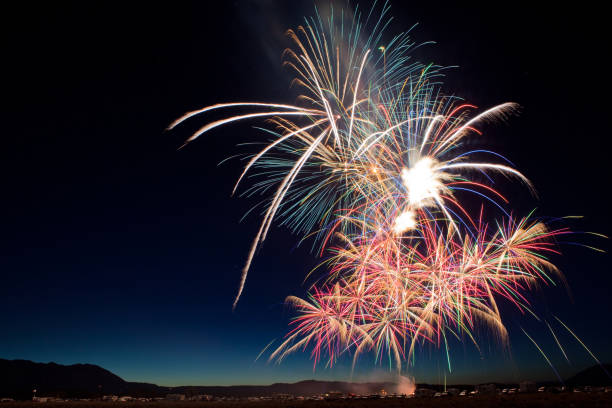 fourth of july fireworks show in california - firework display stock pictures, royalty-free photos & images