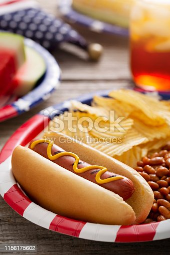 Forth of July or Memorial Day backyard barbecue with grilled hotdog, baked beans, potato chips, grilled corn watermelon, and iced tea on rustic wood picnic table.