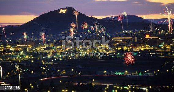 Fireworks erupy all over Butte, Montana, on the Fourth of July.