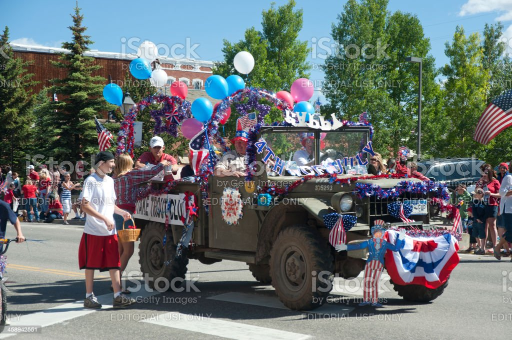 Fourth of July Parade Float stock photo