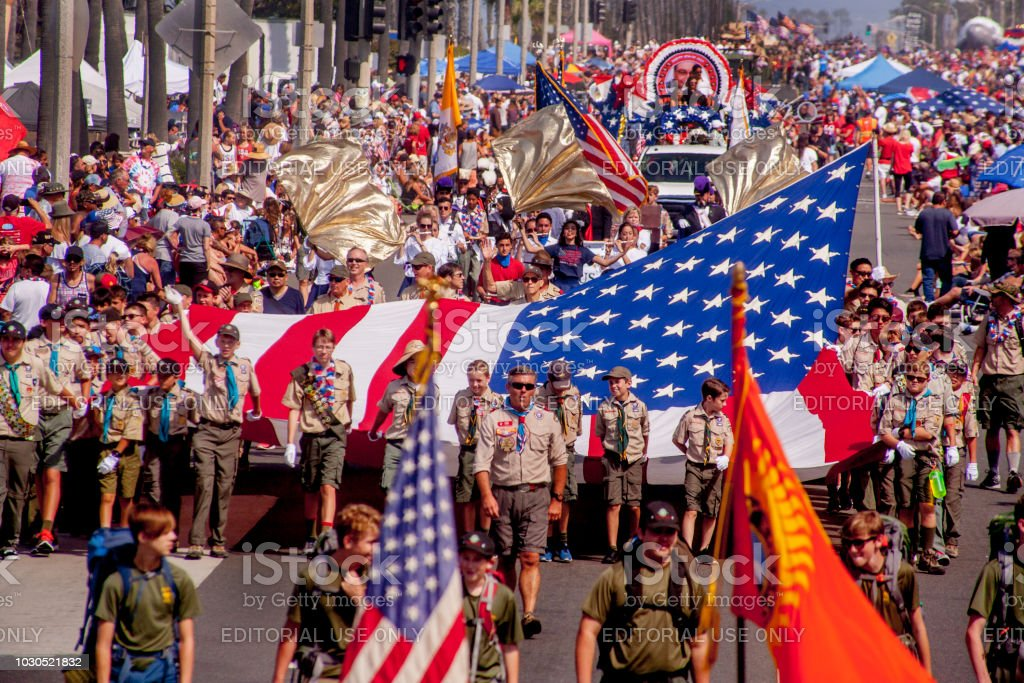 Fourth of July Parade, Huntington Beach, CA. stock photo