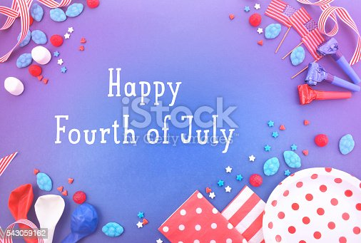 istock Fourth of July Party Background with filters and text. 543059162