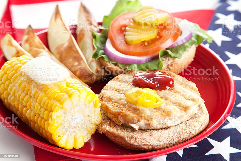 Delicious low-fat turkey burger on whole grain bun with baked potato...