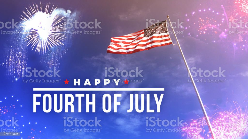 Fourth of July Text Over Fireworks and American Flag stock photo