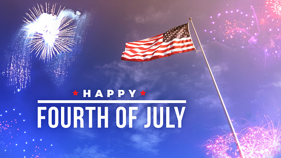 Fourth Of July Text Over Fireworks And American Flag Stock Photo - Download Image Now