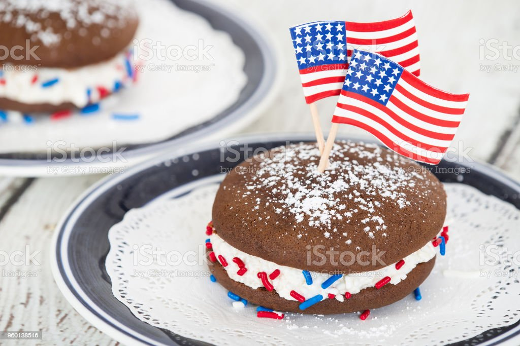 Fourth of July whoopie pie stock photo