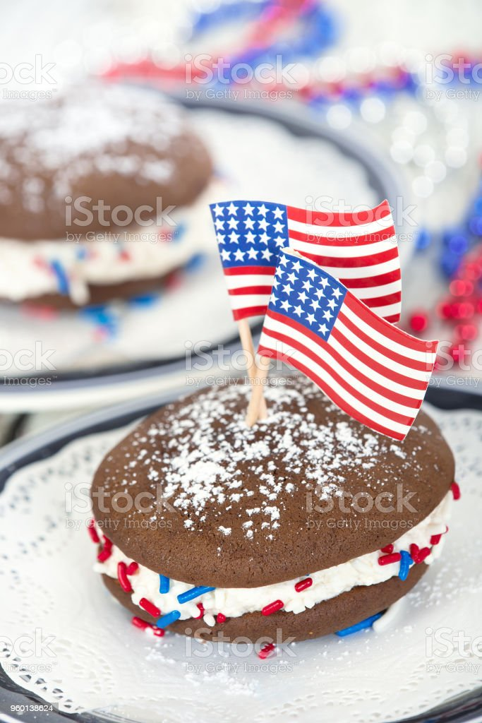 Fourth of July whoopie pies stock photo