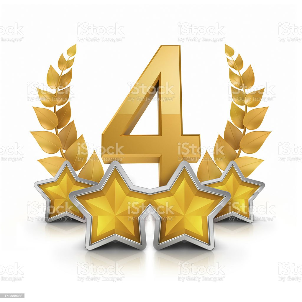 fourth place Four star badge reward royalty-free stock photo