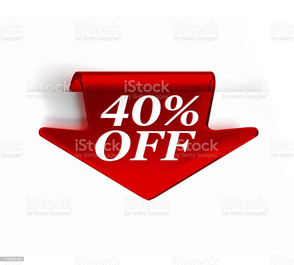 Fourty Percent Off royalty-free stock photo