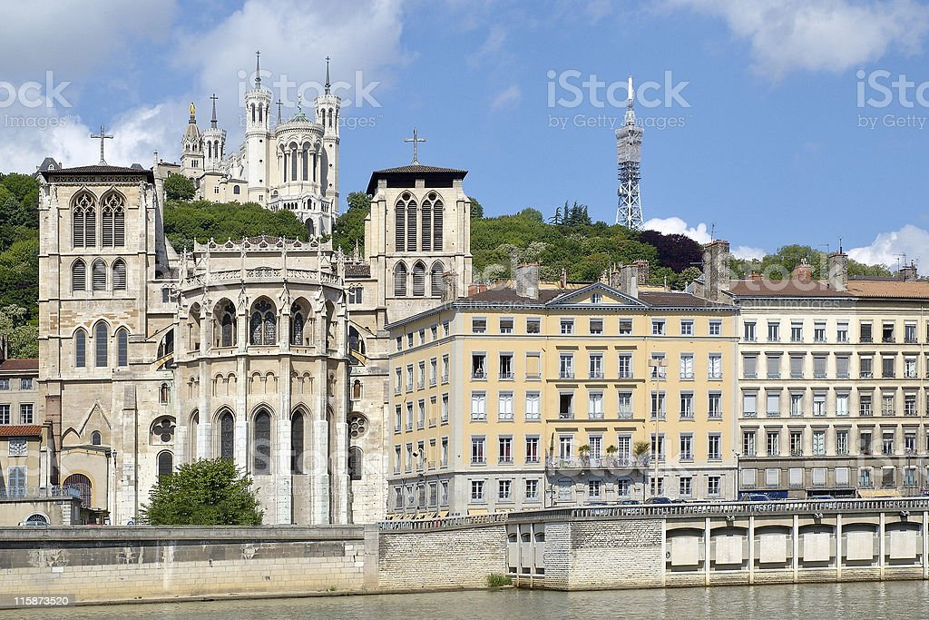 Fourvière hill and the Saint Jean cathedral stock photo