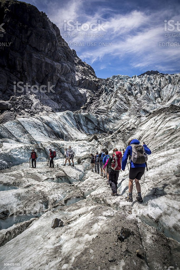 Fox Glacier Hiking Up the Glacier, New Zealand stock photo