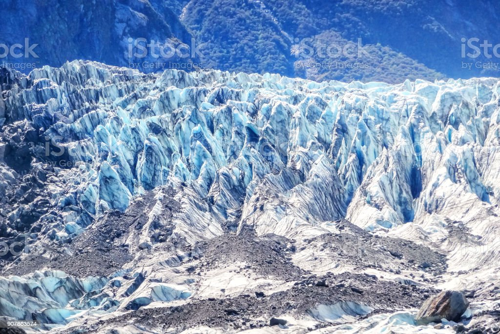 Fox Glacier in Westland Tai Poutini National Park in New Zealand stock photo