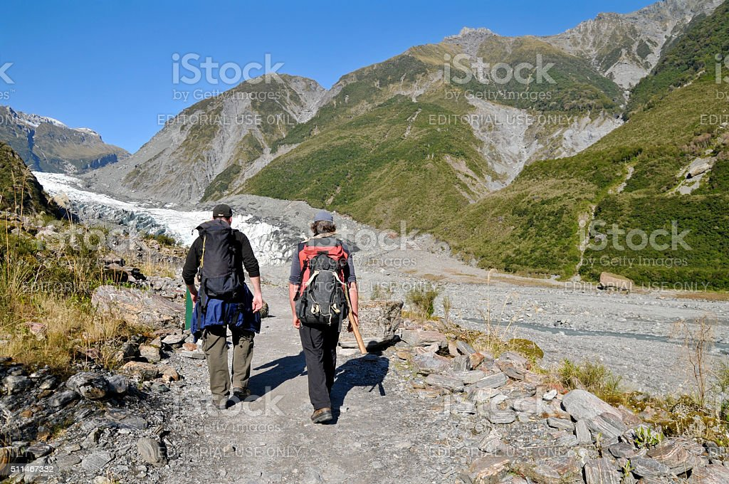 Fox Glacier trekking, New Zealand stock photo