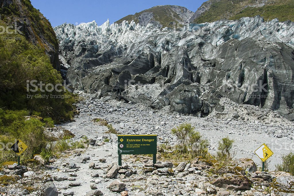 Fox Glacier Warning Sign stock photo
