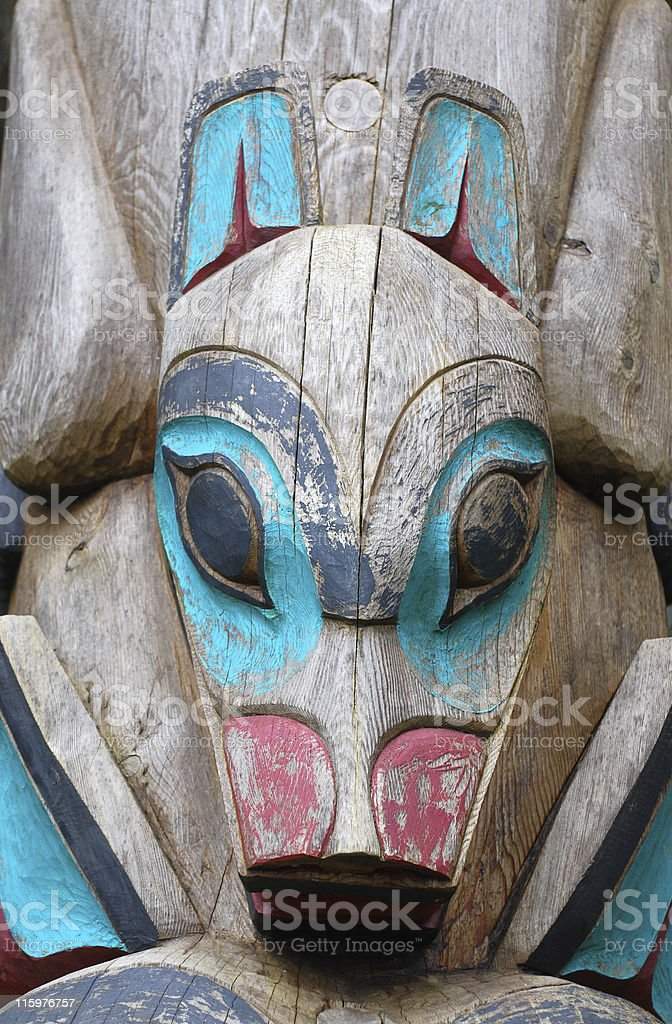 fox or woolf detail of totem pole stock photo