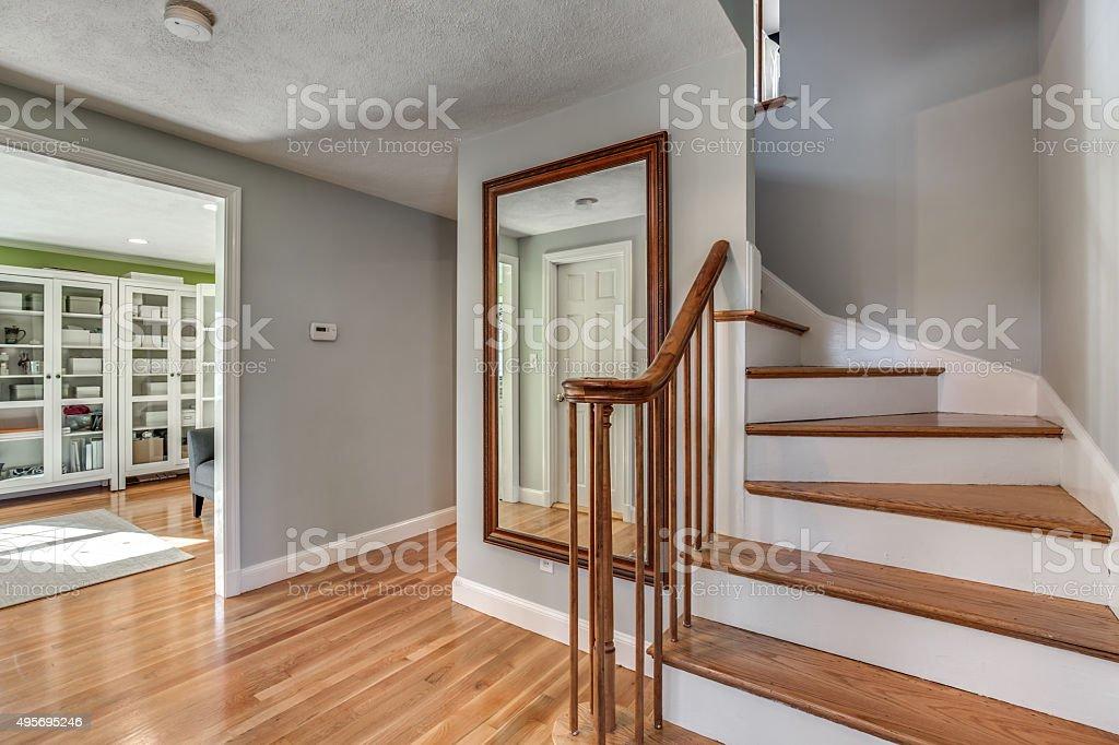 Foyer in beautiful house. stock photo