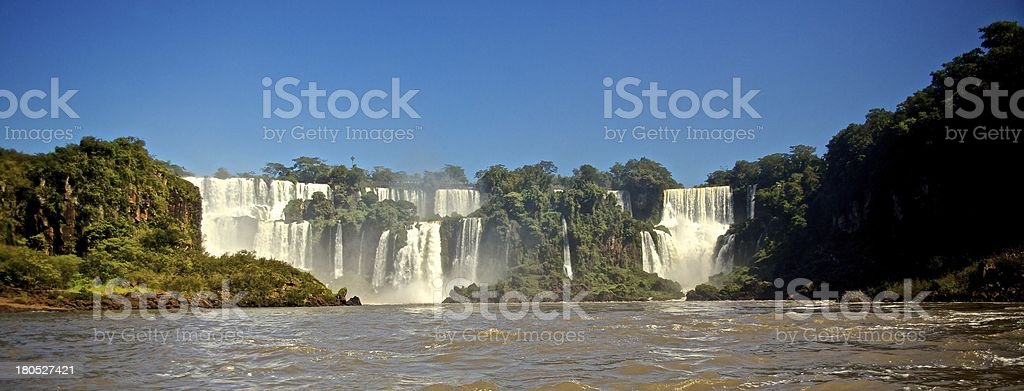 Foz Iguazu waterfall from boat royalty-free stock photo