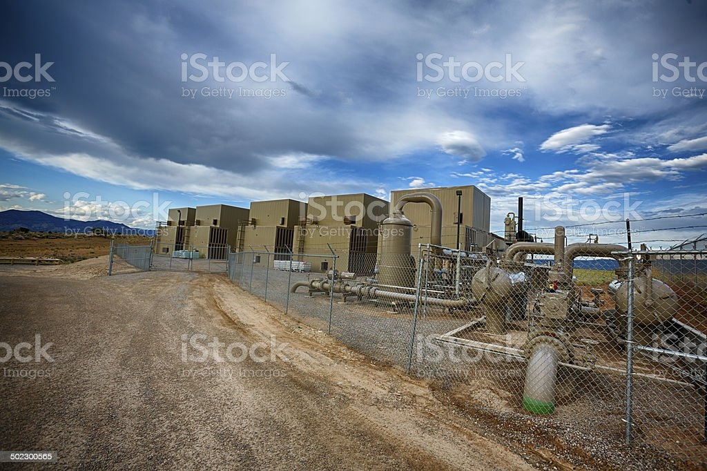Fracking Compressor Station stock photo