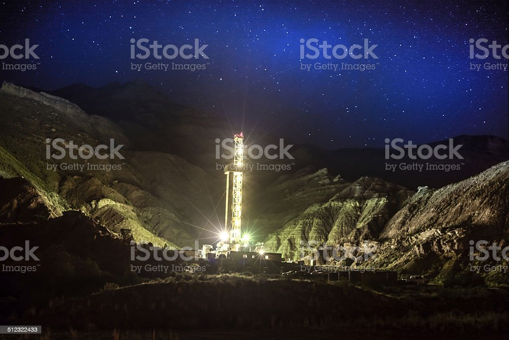 Fracking Drill Rig at Night stock photo