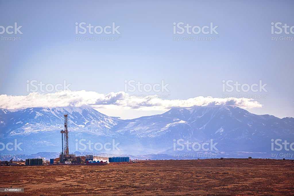Fracking Drill Rig in Mountains stock photo